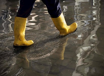 Rain boots in puddle of water